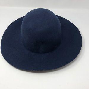 Wool Navy Blue Floppy Hat